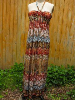 GERI C Halter Maxi Dress Multi Color Brown Red Blue Floral Print