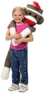 Giant Sock Monkey Large Jumbo Red Heel 3 ft 9 in Stuffed Plush Tall