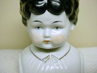 Antique German China Doll Head with Molded Shirt Collar