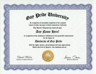 Gay Pride Diploma Homosexual Homosexuality Gag Gift