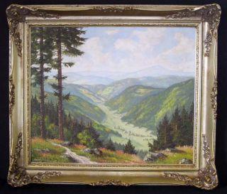 Canvas by German Artist Fritz Schickedanz Black Forest Valley