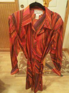 Diane Gilman Belted 100 Silk Tunic Blouse