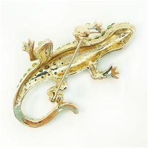 Cute Lizard Gecko Brooch Pin Green Swarovski Crystal Reptile Animal