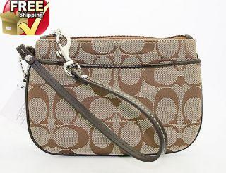 Coach Signature Wristlet Bag in Khaki Mahogany F 45659