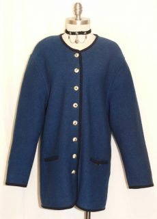 GEIGER BLUE BOILED WOOL Women Austria Winter Dress Walk JACKET Coat 40