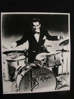 GENE KRUPA PLAYING 1940s SLINGERLAND RADIO KING DRUMS ~ WHITE MARINE