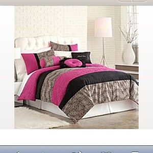 Twin Comforter Bedding 5 Pc Set Leopard Print Hot Pink Black