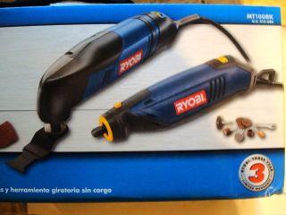 New Ryobi 2 Pc Combo Kit Multi Tool and Rotary Tool MT100RK With Tool