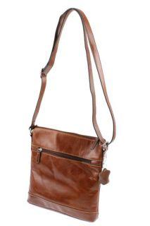 Giani Bernini New Glazed Brown Leather Crossbody Handbag Small BHFO