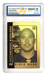 Hines Ward Pittsburgh Steelers 23K Gold Card Gem 10
