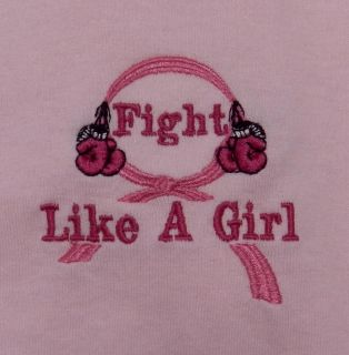 Fight Like A Girl Boxing Glove Pink Ribbon Breast Cancer s s T Shirt L