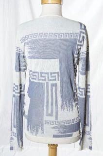Gianni Versace Couture Blue White Signature Border Print Clubwear