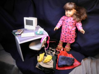 Girl Doll Lot Macintosh Computer Chair Desk Clothes Accessories