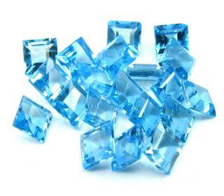 5mm 20PC NATURAL SWISS BLUE TOPAZ PRINCESS CUT GEMSTONES WHOLESALE LOT