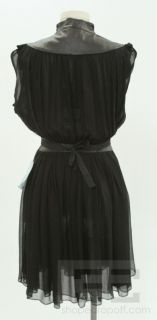 Louis de Gama Black Sheer Silk & Black Leather Trim Sleeveless Dress