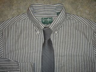 Gitman Bros Vintage Sold Out Color Charcoal Chambray White Shirt L $