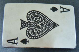 LUCKY ACE OF SPADES POKER GAME CASINO CARDS BELT BUCKLE BOUCLE DE