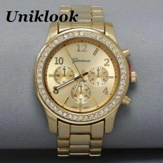 Geneva Platinum Luxury Gold Womens mens watches Watch Uniklook Fashion