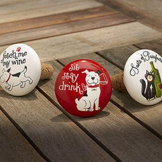 Ceramic Bottle Stopper Gift Idea F Dog Lovers Cat Lovers