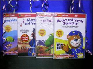 Baby Genius Mozart Friends DVDs Lot Brand New NTSC Region 1 4 DVDs 4