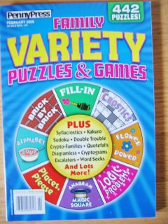 Penny Press Family Variety Puzzles Games Puzzle Book 442 Puzzles FUN
