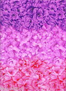 Gladiolus Flowers Fabric Graduated Pink Purple 1 2 Yd