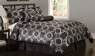Modern Circles Squares Black Silver Full Bed in A Bag