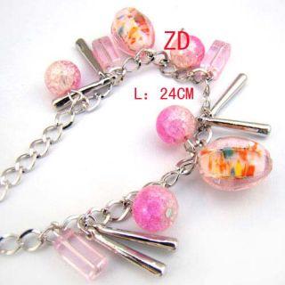 A0193 Pink Murano Glass Crystal Pumpkin Beads Bracelet