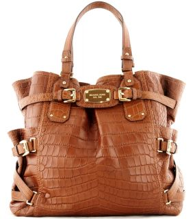Michael Kors Gansevoort Embossed Leather Large North South Tote Mocha