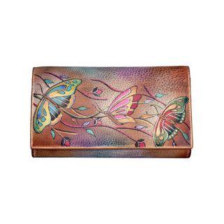 Anuschka Genuine Leather Multi Pocket Wallet Clutch Hand Painted Angel