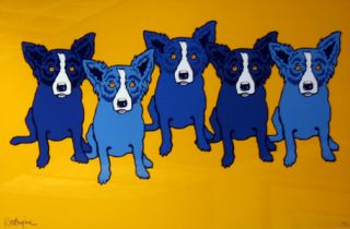 George Rodrigue Follow The Yellow Brick Road Blue Dogs Canine