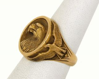 Franklin Mint 14k Golden Eagle Ring by Gilroy Roberts w Box