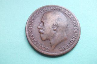1918 KN George V UK One Penny Coin Scarce Mint Mark