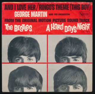 Beatles RARE 1964 GEORGE MARTIN RINGOS THEME PICTURE SLEEVE!