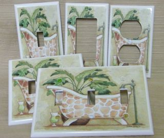 African Giraffe Print Bath Tub Spa Decor Light Switch Cover Plate