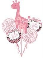 Safari Girl Baby Shower Party Decorations Pink Giraffe 5 Balloons