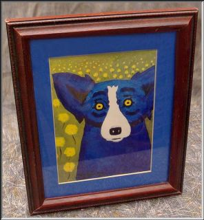 Fabulous George Rodrigue Blue Dog Print Matted Framed