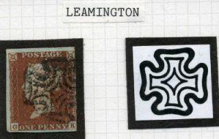 1841 1D Red Leamington Maltese Cross GK Plate 19 Cat £250