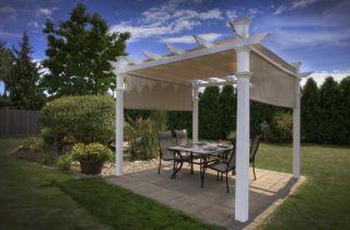 New Malibu Pergola White Vinyl Outdoor Patio Garden Room Shade Cover