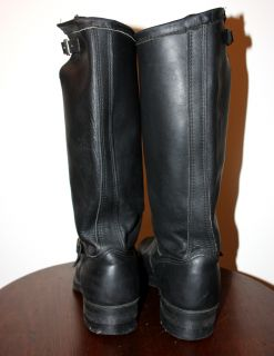 Vtg Georgia Boot Tall Boss Engineer Motorcycle Leather Boots 12 E 17