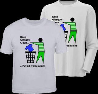 Keep Glasgow Clean Funny Football Celtic T Shirt