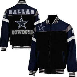 Dallas Cowboys Knockout Full Zip Suede Jacket Black Navy Blue