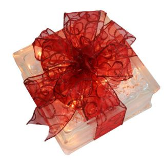 Holiday Decoration Lighted Glass Block with Sheer Red Ribbon