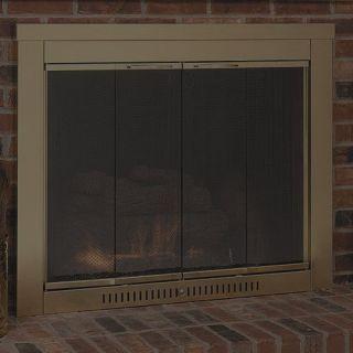 Contemporary antique brass glass fireplace door screens 4629