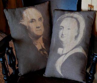 Primitive Antique George Washington Martha Pillows Colonial Patriotic