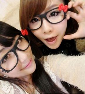 1x Hello Kitty Bow Bowtie Women Girl Glasses Frame Costume nerdy Gift