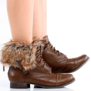Brown Fold Over Faux Fur Combat Army Lace Up Womens Flat Ankle Boots