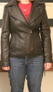 NWT Jones New York black leather motorcycle jacket. Small.