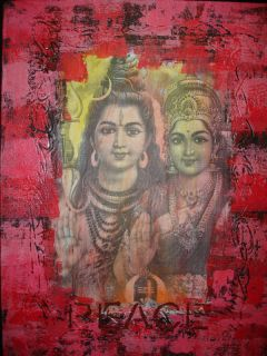 Bali Lord Shiva Goddess Pravati Painting Collage Balinese Hindu Wall