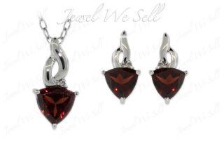 925 Sterling Silver Trillion Cut Garnet Diamond Earrings & Pendant Set